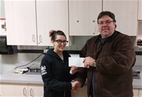 2017 Gator Raffle Winner Angelica Karalash. Cheque presented by Allan Knight.